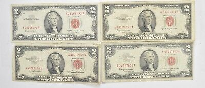 Lot (4) Red Seal $2.00 US 1953 or 1963 Notes - Currency Collection *533