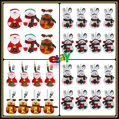 Christmas Tableware Holders With Colorful Non-Woven Detailed Pockets 6 Pieces
