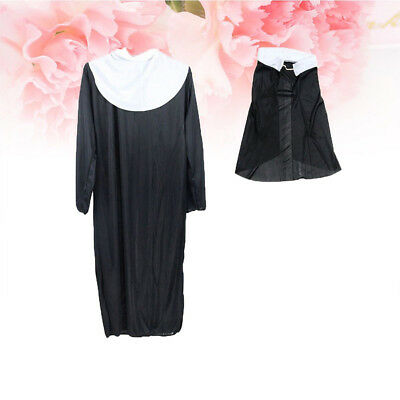 3pcs Women Nun Party Cosplay Stage Performance Costume Cross Headscarf Robe Hot