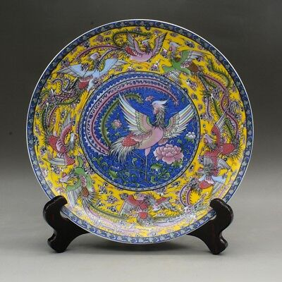 Chinese old hand-made  famille rose nine phoenix pattern porcelain plate c01