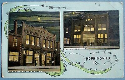 1914 THE PRINCESS THEATRE and the REX THEATRE Hopkinsville Kentucky POSTCARD