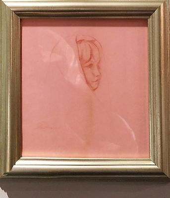 """original drawing red charcoal framed """"after bath"""" by stuart kaufman 1926-2008"""