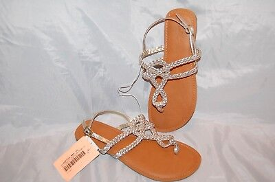 90a0fa2873ab New Women s Gold Silver Universal Threads Jana Braided Thong Sandals Size 7
