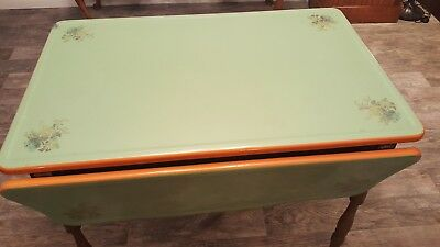 Vintage Marshall Field Art Deco Porcelain Enamel Kitchen Table  Drop-Leaf