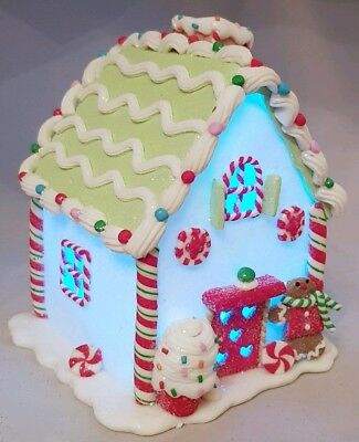 "Gingerbread House White Christmas Cupcake Light Up Candy Claydough 6"" Kurt Adler"