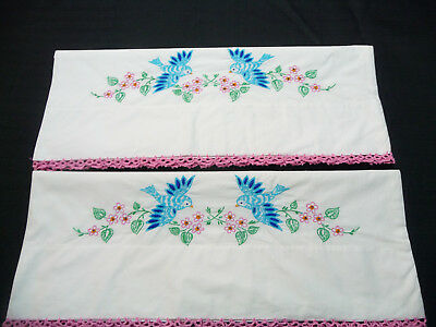 Vintage Pair Pillowcases Hand Embroidered Blue Birds w/Pink Tatted Edging