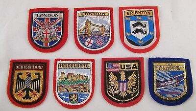 Lot of 7 ~ Vintage Sampson's Woven Badges ~England ~Germany ~USA ~Souvenirs