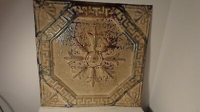 antique/vintage tin ceiling tile in tan tone, NICE CONDITION!