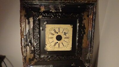 antique/vintage industrial tin ceiling tile with clock face, NICE CONDITION!
