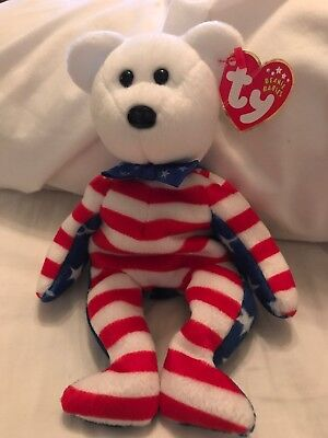 """TY Beanie Babies """"LIBERTY (White Face)"""" USA PATRIOTIC TEDDY BEAR - MWMTs! GIFT!"""