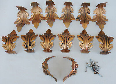 Lot of 14 Stamped Steel Architectural Curved Acanthus Leaves, Leaf