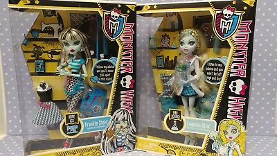 2011 Classroom Doll Sets Monster High Lagoona Blue & Frankie Stein NRFB Lot Of 2