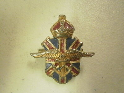 Vintage WWII British Military Sweetheart Air Wing Roped Anchor Crown Enamel Pin