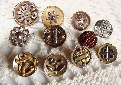 Small Sparkling lot of Antique Victorian Cut Steel Buttons Florals Brass