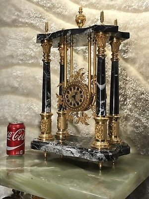 Gorgeous Royal French Style Clock W Brass Bronze Marble Stone Case Working