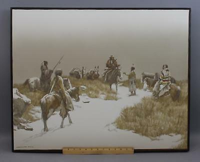 Orig NICHOLAS PACE Western Native American Indian Winter Landscape Oil Painting