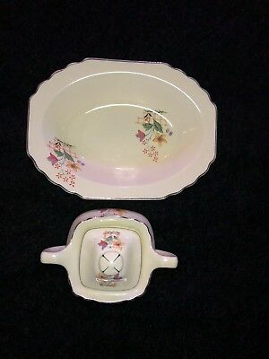 Lido WS George Canarytone 011A Sugar Bowl With Lid And Tray~ RARE