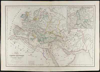 1847, Antique map Empire Carolingian and Empires Arab (Delamarche)