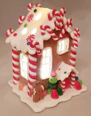 "Gingerbread Town House Brown Christmas LED Light Up Candy Twist 5"" Kurt Adler"