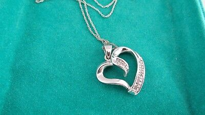 10K White Gold Heart Pendant With Many Diamonds on 14K White Gold Chain ~