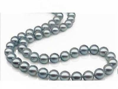 """18""""9-10mm natural SOUTH  SEA silver gray pearl necklace 14K"""
