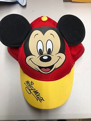 Disney Parks Red and Yellow Mickey Mouse Baseball Cap Hat Ears New With Tag