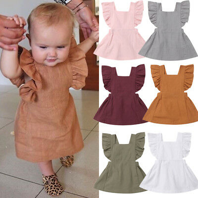 US STOCK Toddler Kids Baby Girl Solid Color Ruffle Princess Party Dress Sundress
