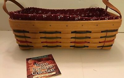 Longaberger WOVEN TRADITIONS PANTRY BASKET with TRADITIONAL RED FABRIC LINER GUC