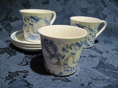 Three Vintage Cups & Saucers in Lotte by Figgjo of Norway