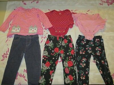 Baby Girl Clothes 18M Carter Lot Of 6 Pants Body Suite Shirt Great Condition
