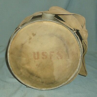 Vintage USFS Forest Service Fire Only Water Canteen Galvanized w/ Canvas & Strap