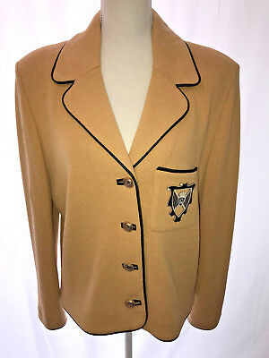St. John's Collection By Marie Gray Knit Blazer / Jacket Pale Gold Formal Lovly