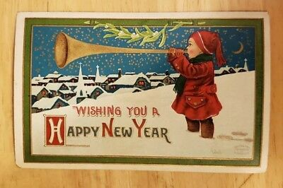 Vintage Postcard Happy New Year Printed in Germany Posted Embossed. Blank back
