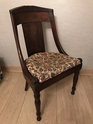 Antique French Empire style Mahogony Sleigh Slat Back Chair