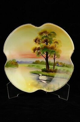 Antique Stunning Nippon Morimura Hand Painted Footed Bowl Swan On The Lake