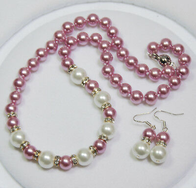 8-10MM White /Purple South Sea Shell Pearl Round Beads Necklace Earrings Set AAA