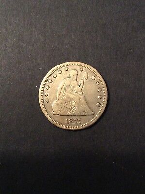 1877 Seated Liberty Quarter Solid VF with Full Liberty and nice toning!