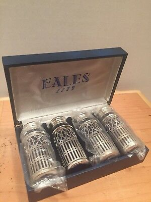 Eales 1779 Silverplate And Cobalt Glass Salt And Pepper Shakers-Nib