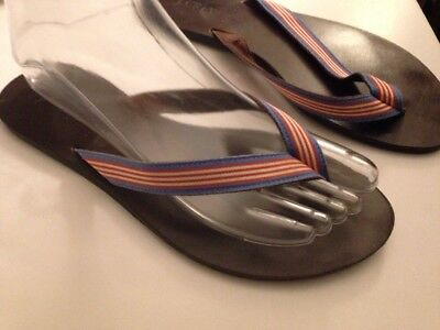 b1ad5021e376 J. CREW WOMEN S Red With Navy Blue Anchor s Flip Flops Size 8 Anchor ...
