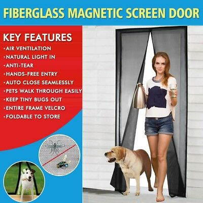 "Magnetic Screen Door French/Sliding Door Fiberglass Bug Insect Net Mesh 36""x82"""
