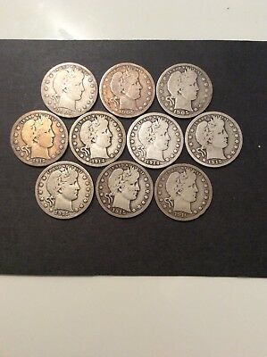 Lot of 10 Silver Barber Quarters - Some key dates, some common