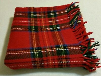 "100% WOOL STADIUM BLANKET RICH RED PLAID 48""x54"" Excellent condition. UNMARKED"