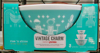 Vintage Charm Pyrex Inspired Rise N Shine 3 Piece Nesting Mixing Bowls