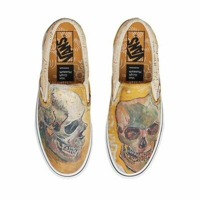 Vans Skull Vincent Van Gogh Yellow Slip On Shoes Limited Edition