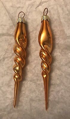 """Christopher Radko Gold Icicle Twist Blown Glass Lot 2 4"""" Gold"""