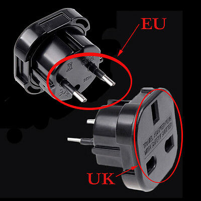 Socket Converter Travel Home UK to EU Euro Plug AC Power Charger Adapter Black