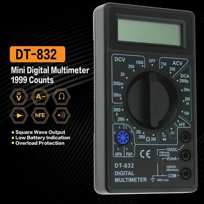 DT832 Digital LCD Multimeter Ohm Voltage Ampere Meter Buzzer Function Test