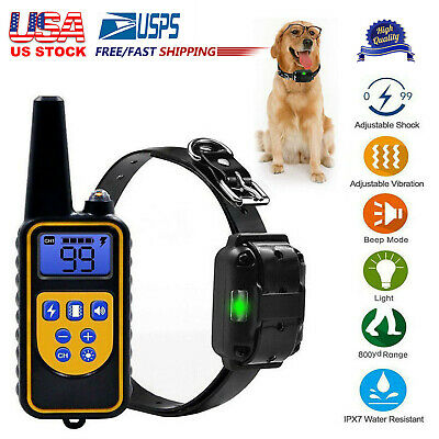 875 Yard Electric Dog Shock Training Collar With Remote Control Waterproof Pet