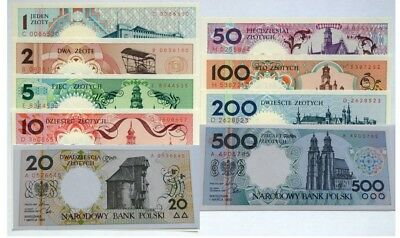 Poland 1990 Polish Cities Banknotes Set of 9 UNC in Book NBP