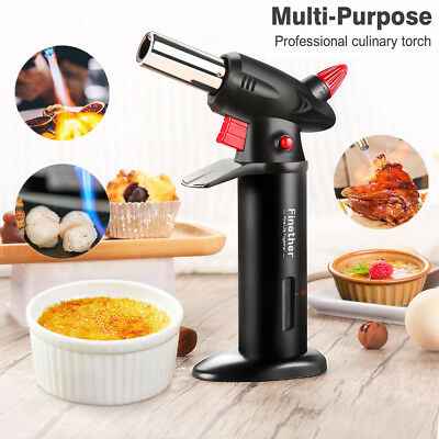 Refillable Butane Gas Chefs Blow Torch Cooking Tool Safety Lock & Adjust Flame